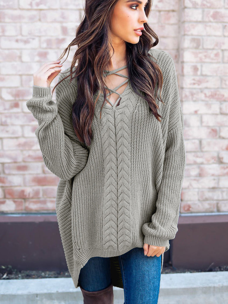 Fun Times Cable Knit Oversize High-Low Sweater Dress