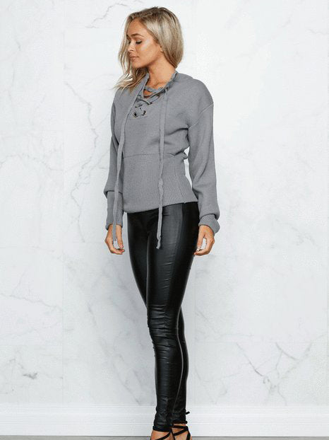 All Weekend Plunging Neck Lace Up Pullover