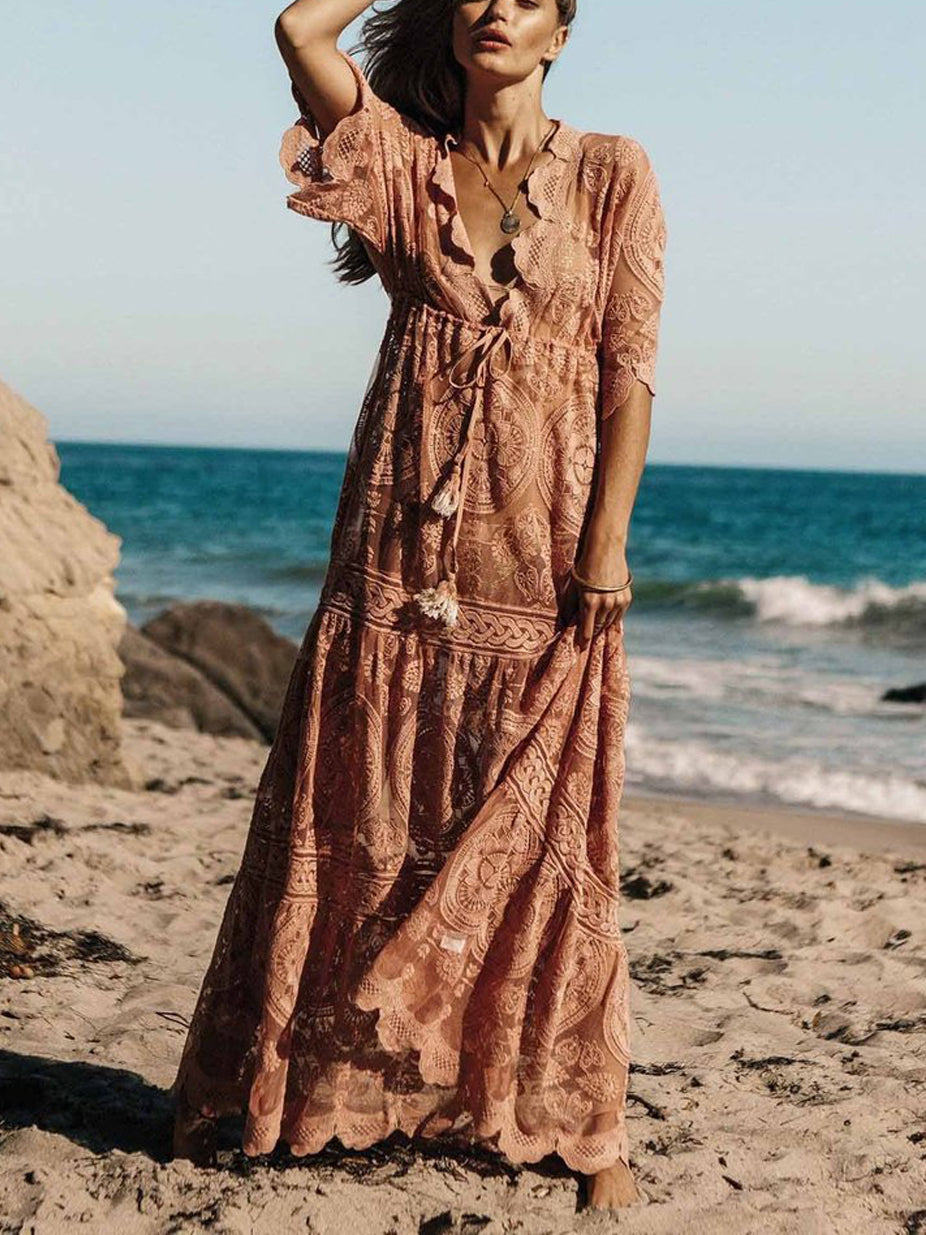 Gloria Crochet Lace Plunging Neck Maxi Dress