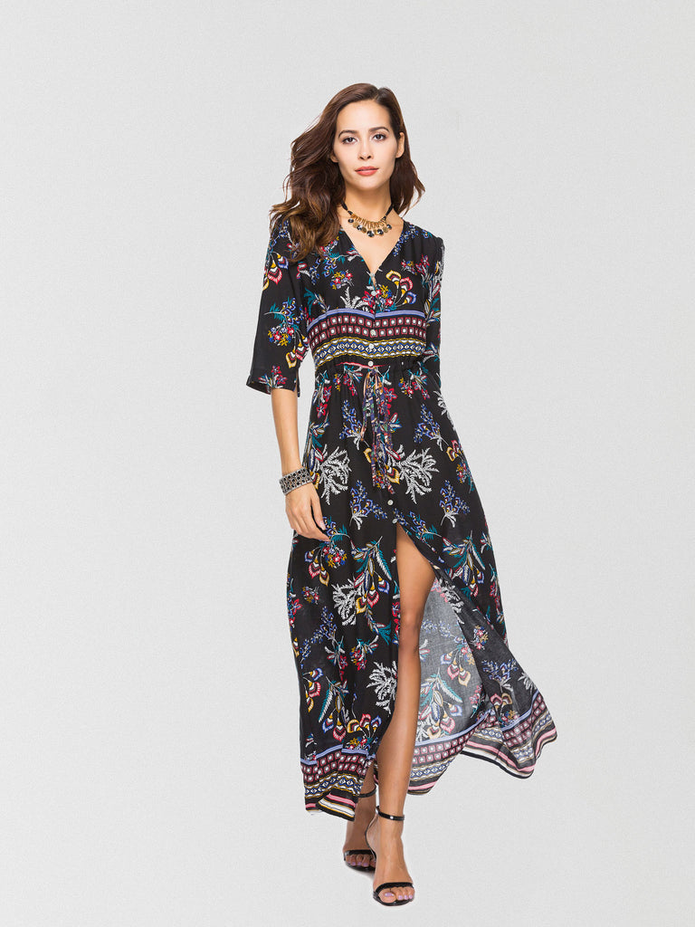 Going Somewhere Floral Button Down Maxi Dress