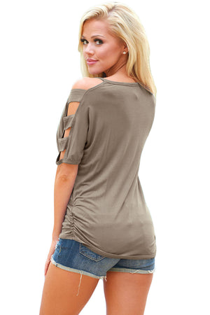 Gray Cold Shoulder Ruched Sides T-shirt