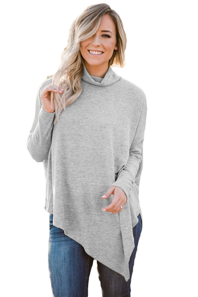 Soft Faux Poncho High Neck Sweater