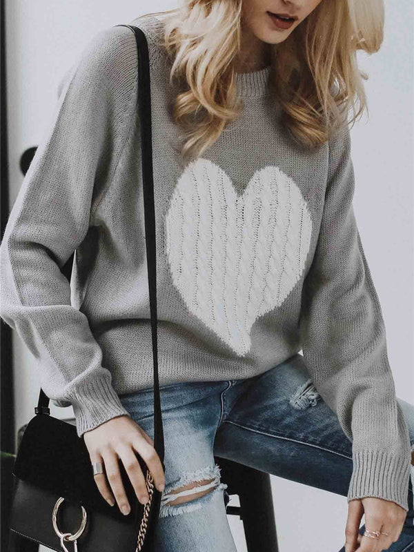 Heart This Ribbed Knit Pullover Sweater