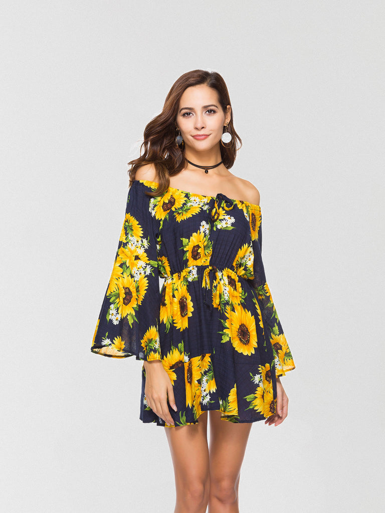 Daisy printed mini dress featured in an off-the-shoulder silhouette and an oversized fit