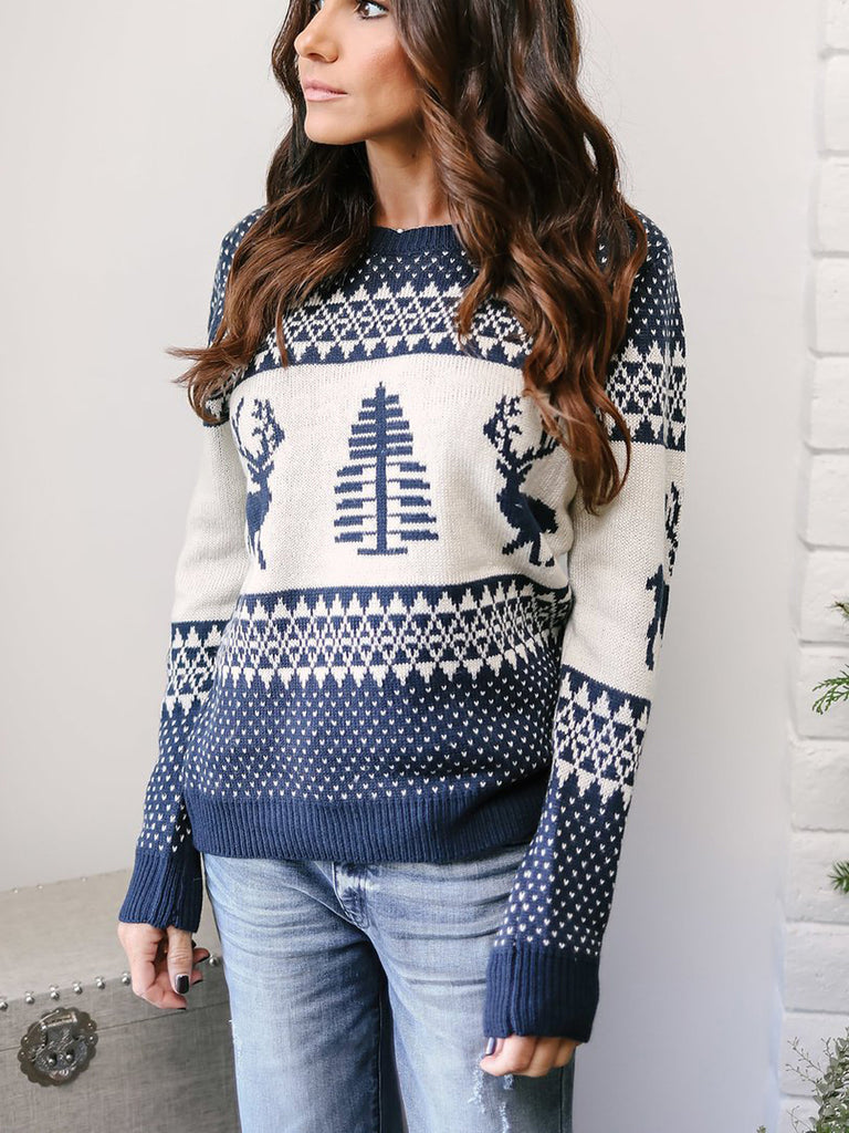 Hello Santa Holiday Print Christmas Pullover Sweater