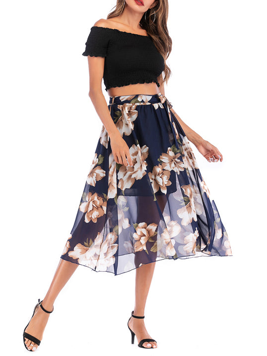 Proper Lady Floral Print Lined Chiffon Skirt