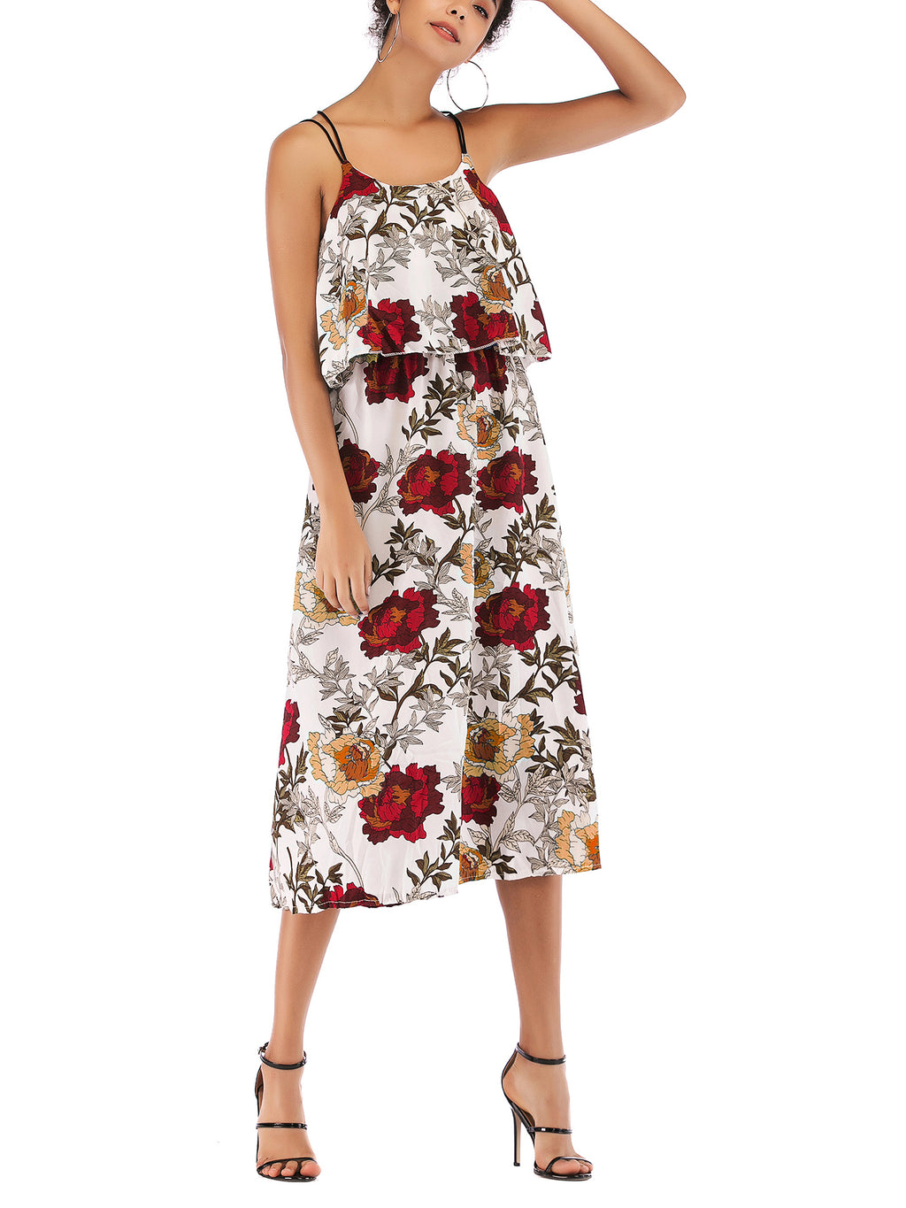 In Love With This Floral Print Frill Midi Dress