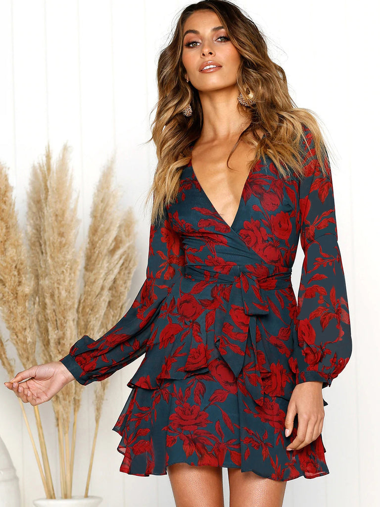 In The Mood For Love Floral Print Surplice Mini Dress