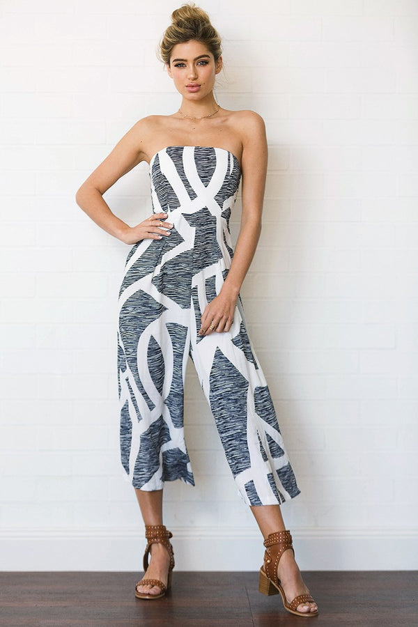 First City Striped Wide Leg Jumpsuit