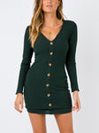 Kathleen Ribbed Knit Button-Down Mini Bodycon Dress