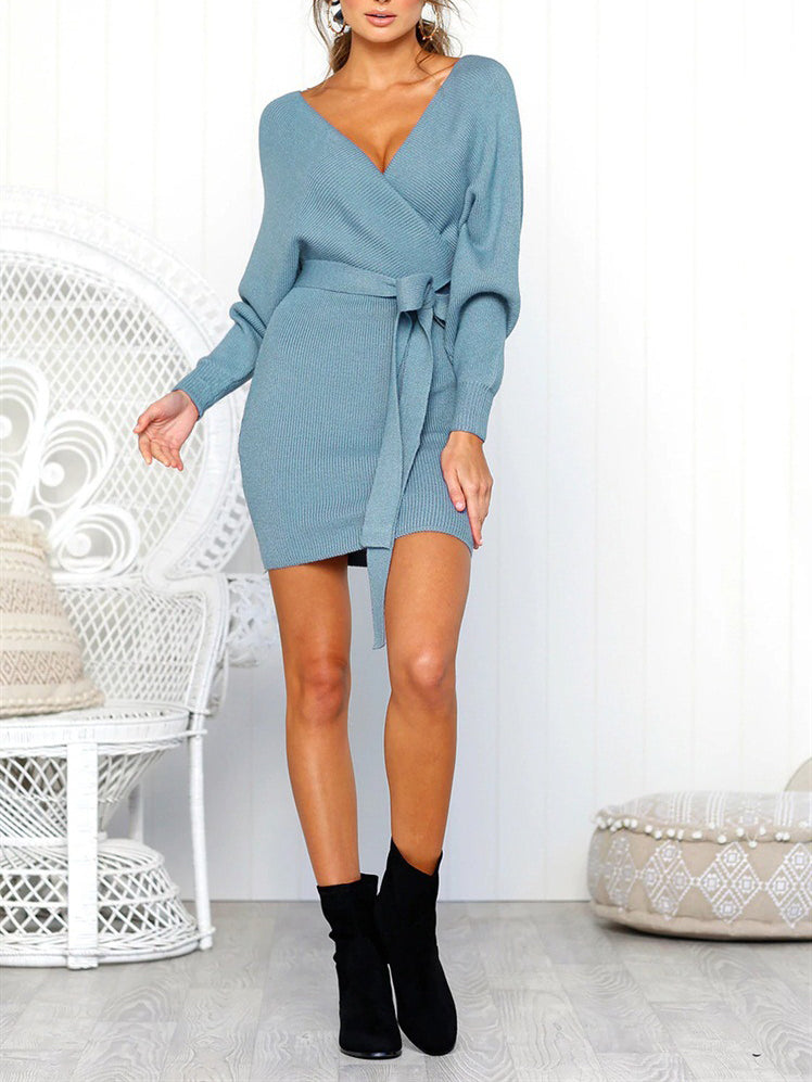 20c4991162 Kiss The Sun Ribbed Knit Surplice Sweater Dress – INXCY