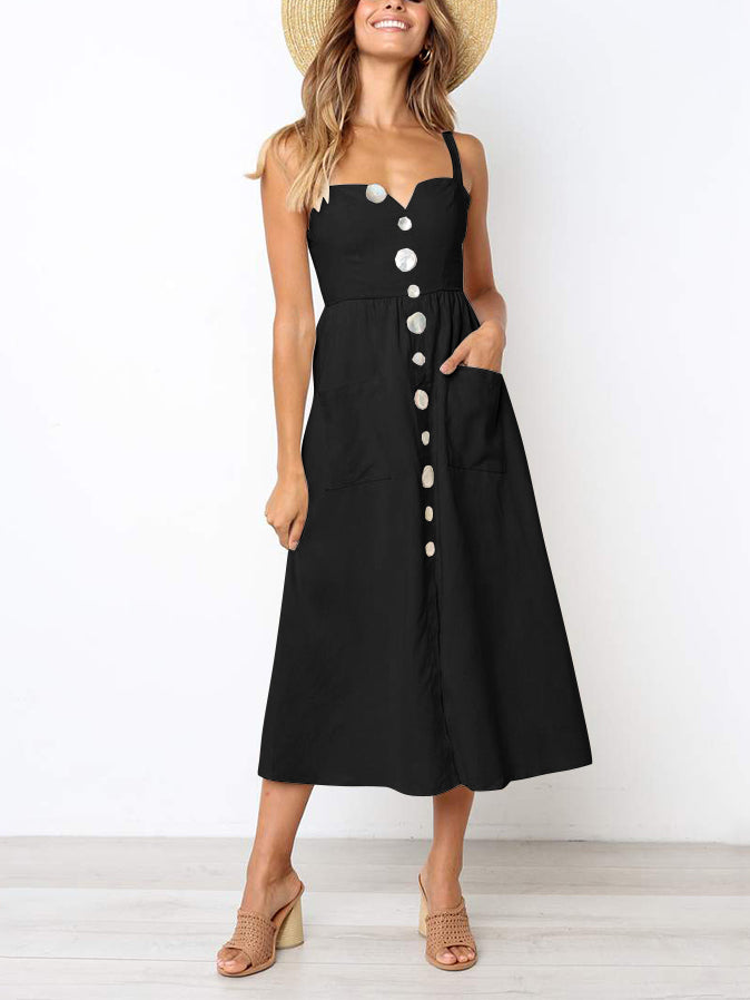 Latrina Sleeveless Buttoned Midi Dress