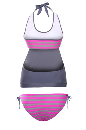 Layered Tankini Rosy Grey Striped 2pcs Bathing Suit