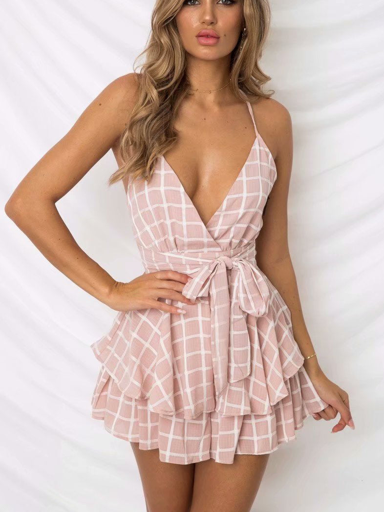 Let's Dance Gingham Surplice Neck Ruffle Romper
