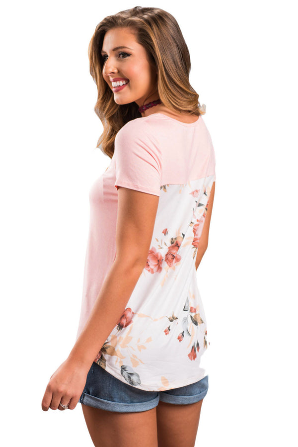 Light Pink Floral Print Lower Back T-shirt