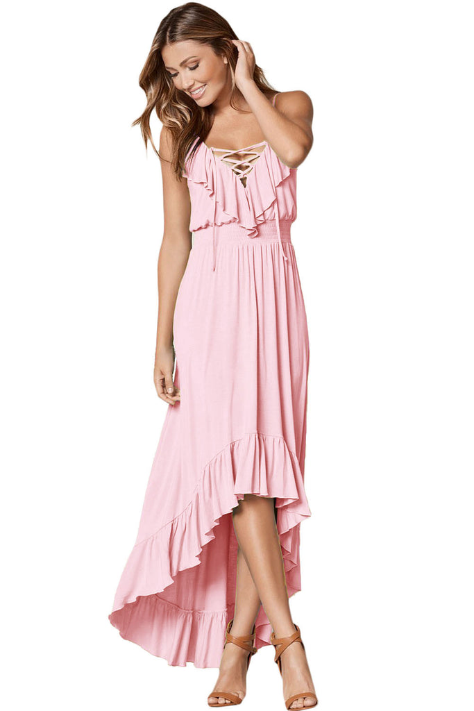 Light Pink Lace Up V Neck Ruffle Trim High-low Maxi Dress