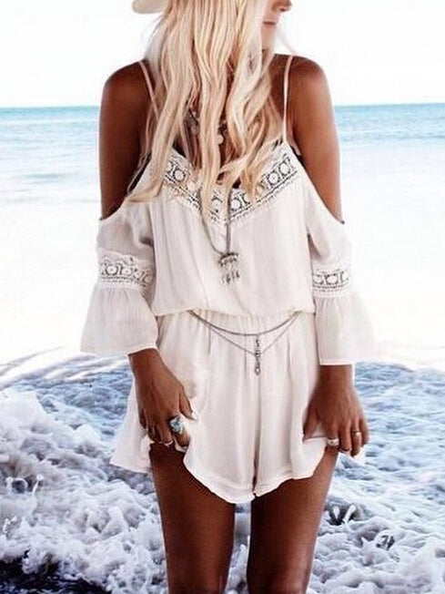 Lightweight romper featured in cold shoulder design and lace trimming