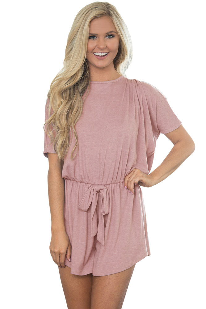 Kiss Kiss Light Pink Pleated Romper