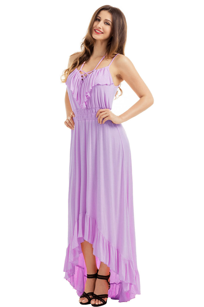 Lilac Lace Up V Neck Ruffle Trim High-low Maxi Dress