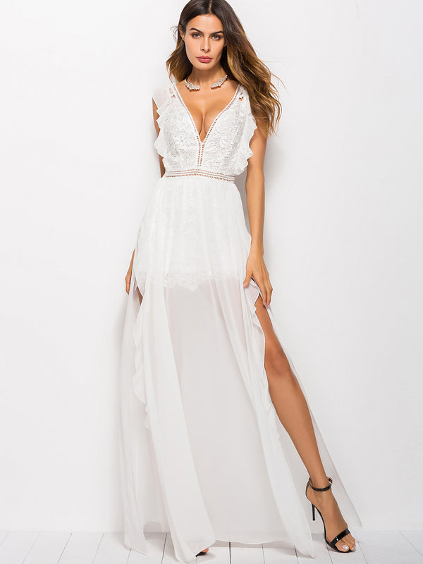 Little Crush Mesh Lace Maxi Dress