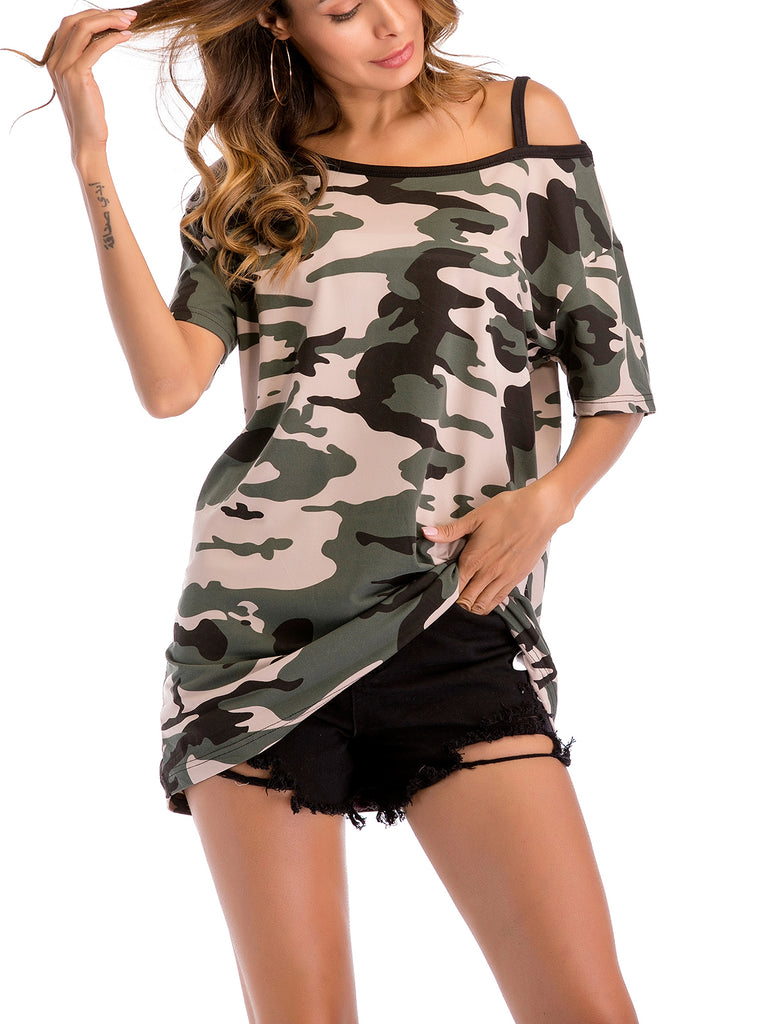 Lookin' So Cool One-Shoulder Camouflage Slouchy Top