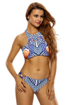 To The Sky Peacock Print High Waist Two-Piece Swimsuit