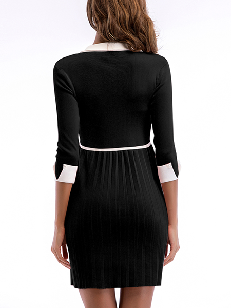 Marcella Ribbed Knit Pleated Sweater Dress
