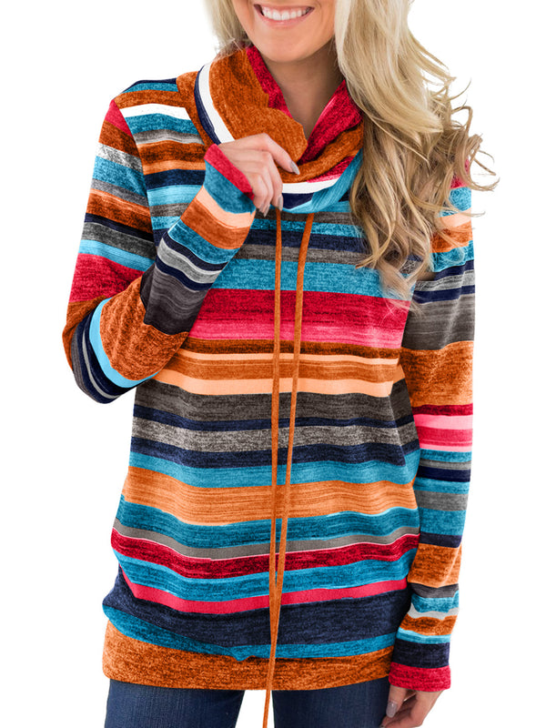 Melynna Stripe Slouchy Cowl Neck Top