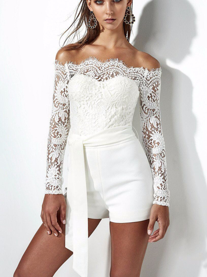 Mixed Up Lacy Off-The-Shoulder Romper
