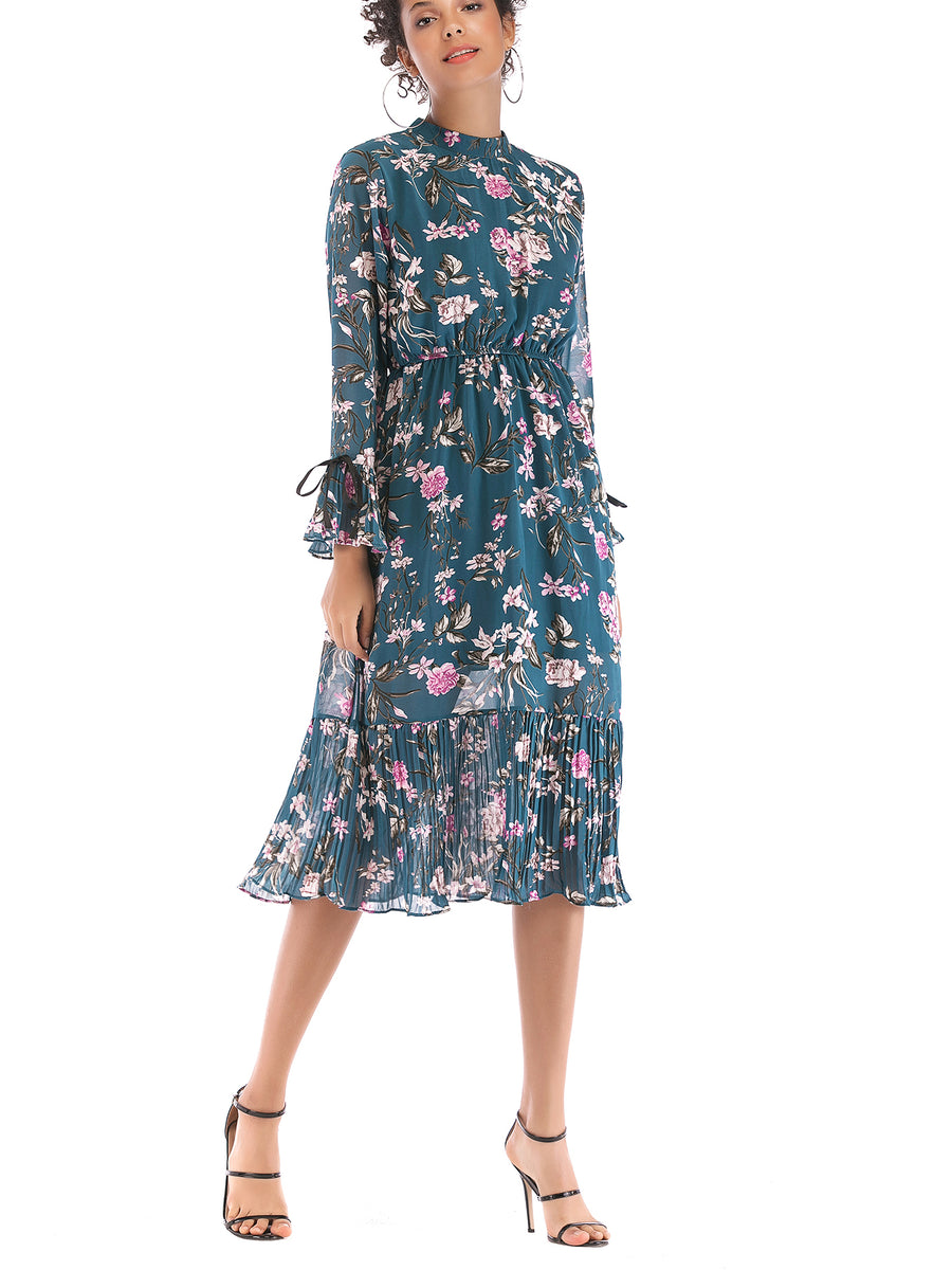 feb74635128 Modern Femme Floral Print Ruffle Swing Dress – INXCY