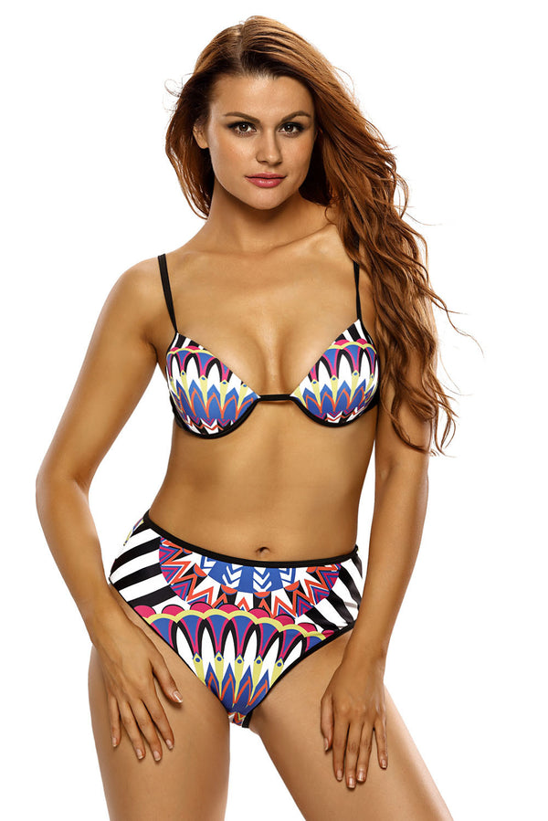 Tribal Style Print Two-Piece High Waist Swimsuit