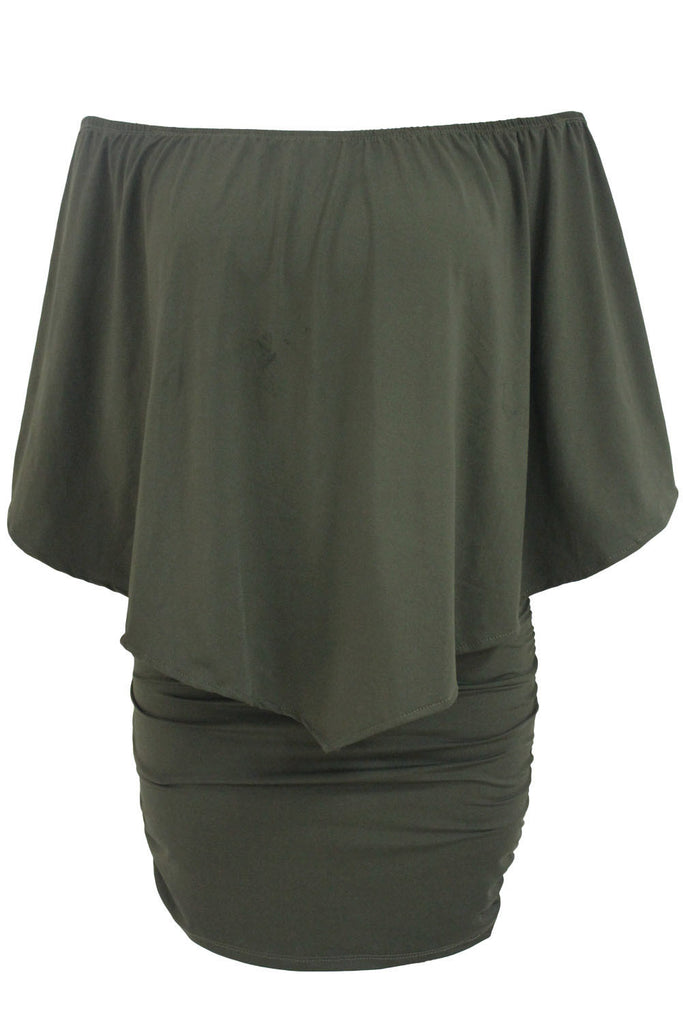 Multiple Dressing Layered Army Green Mini Dress
