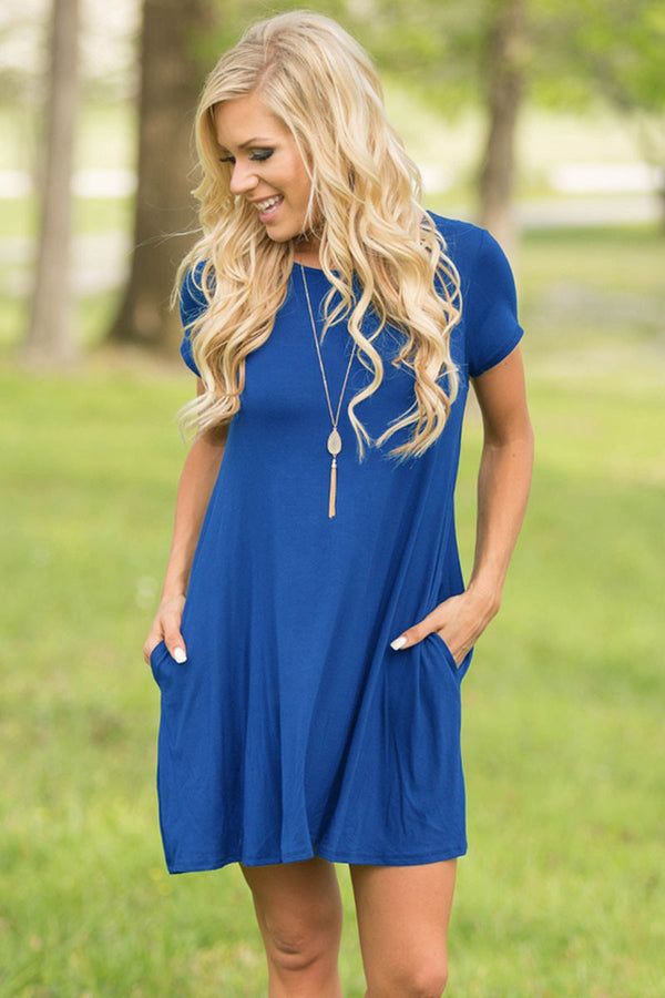 Blue Short Sleeve Flared Dress