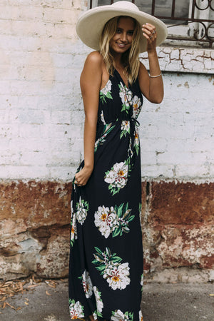 The Floral Touch Plunging Neck Maxi Dress