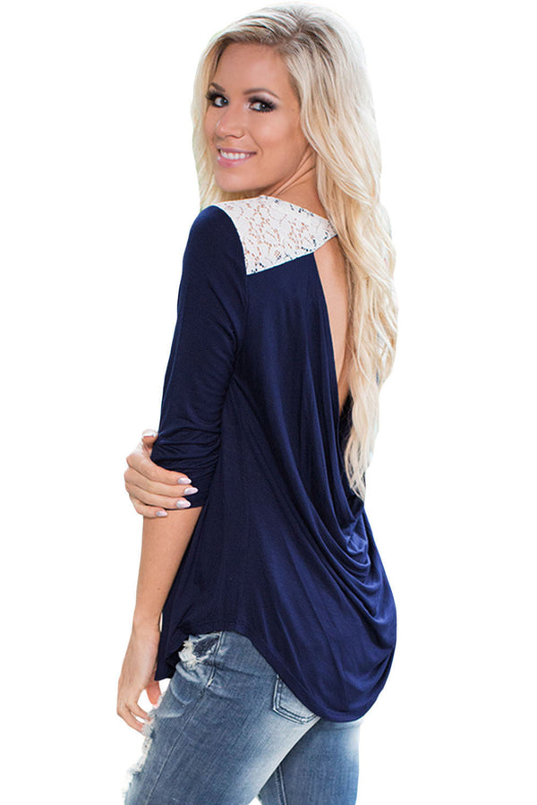 Come Around Navy Low Cut Top with Lace Insert