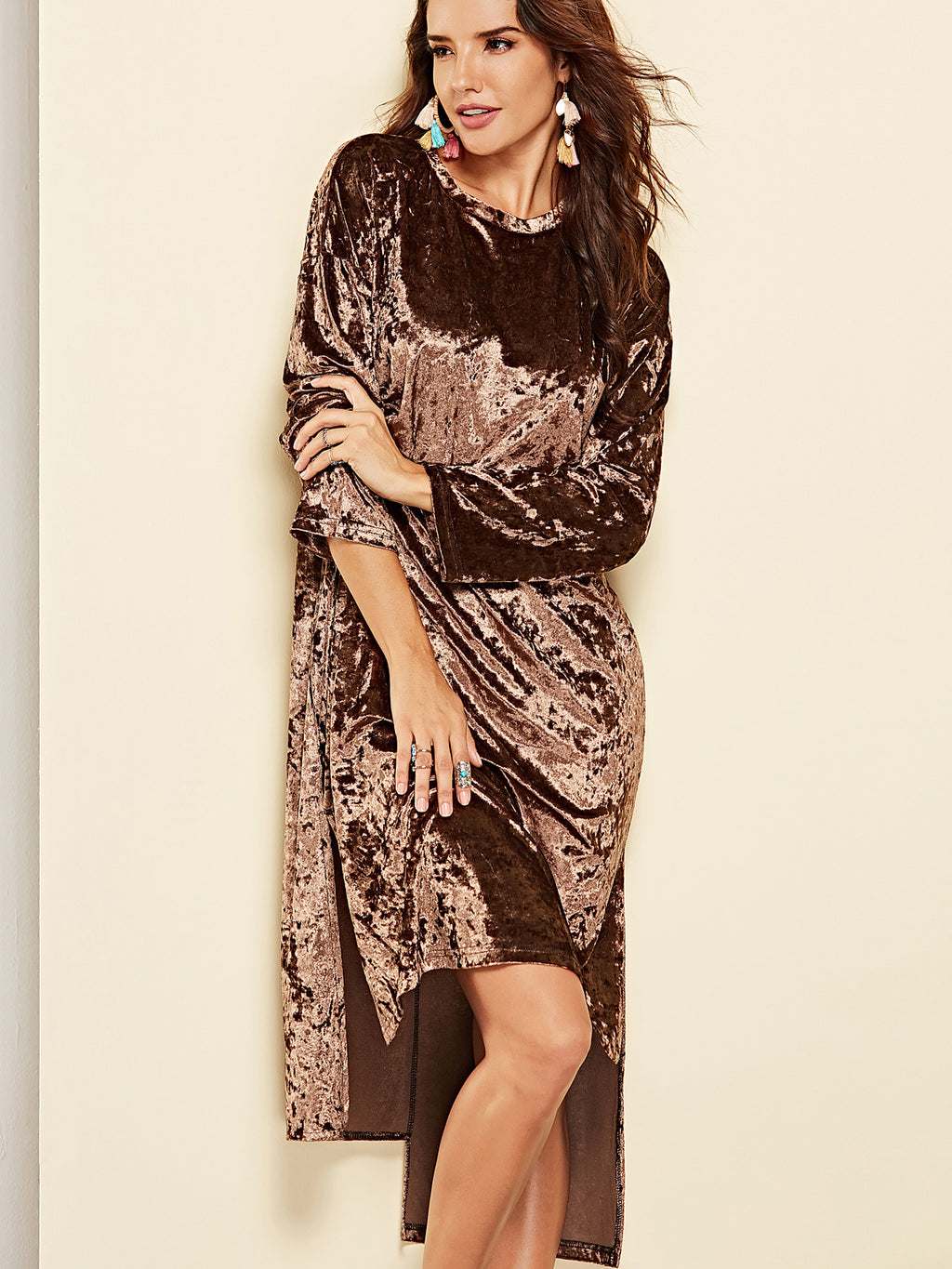 Night City Velvet Slouchy Midi Dress