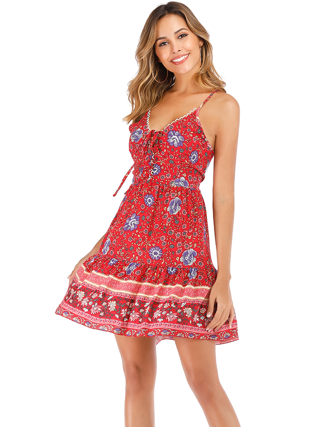 Red Floral Print V-neck Mini Dress