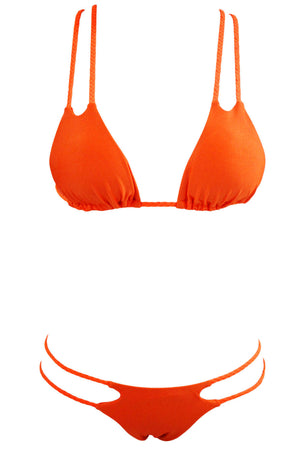 Orange Braided Double Straps 2pcs Swimsuit