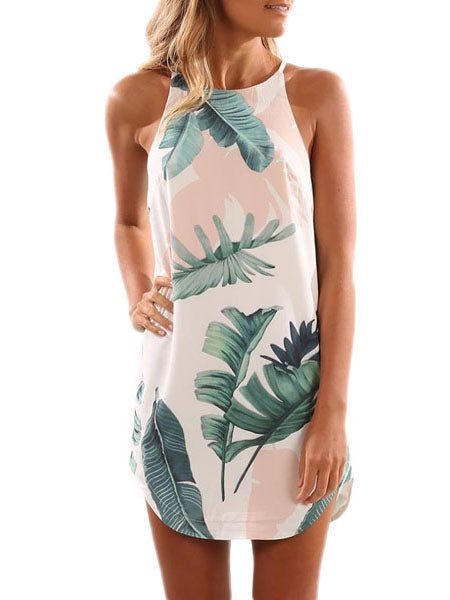 Palm Tree Leaf Print Ivory Sleeveless Dress