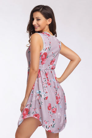 Pink Lace Trim Floral Boho Dress