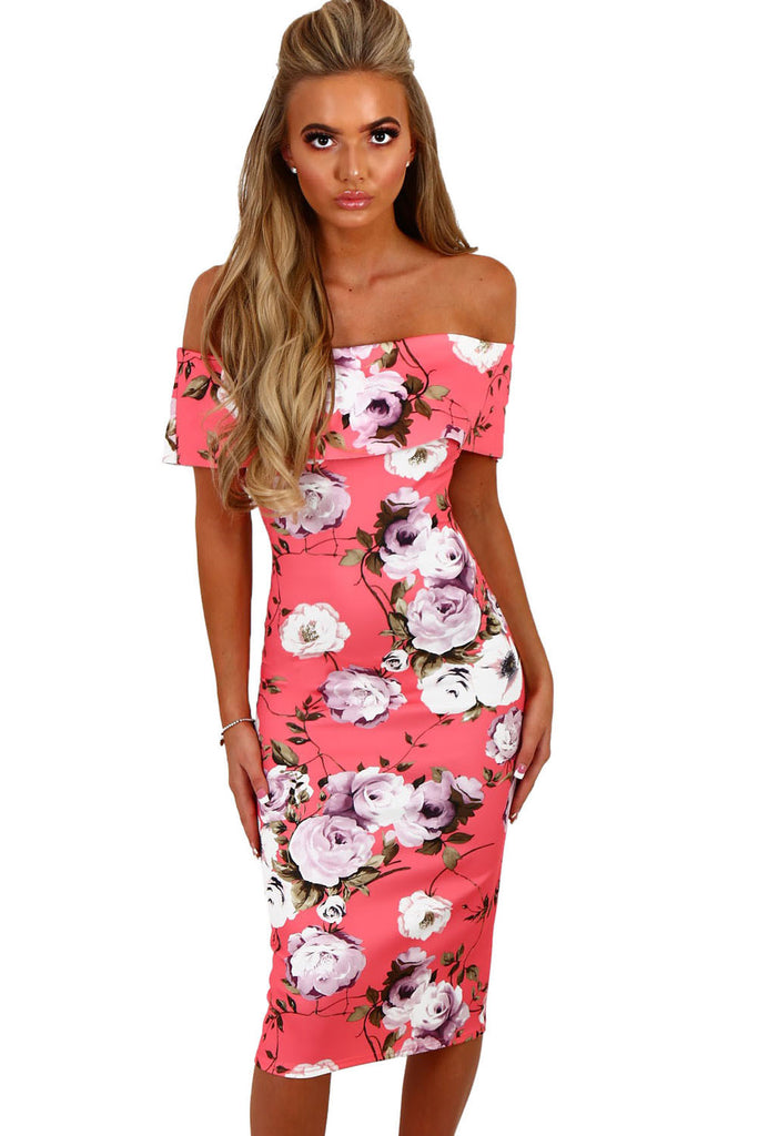 Pink Multi Floral Bardot Bodycon Midi Dress