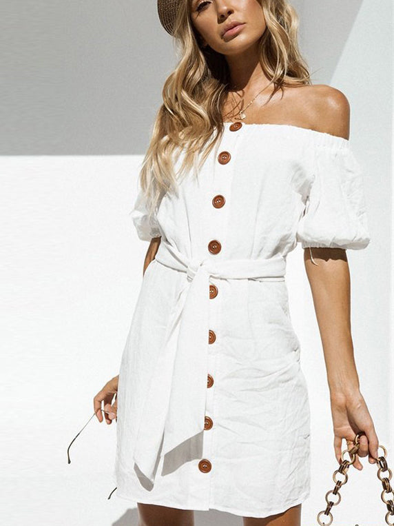 Proper Lady Off-The-Shoulder Buttondown Mini Dress