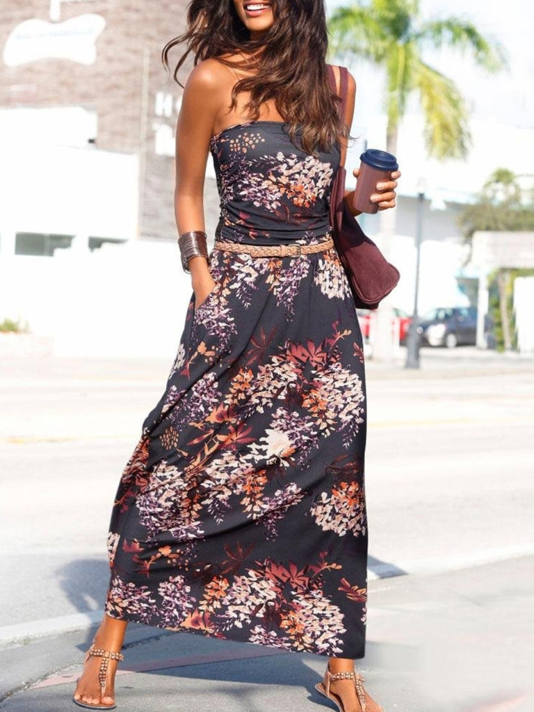 Purple Bohemian Bandeau Floral Print Maxi Dress