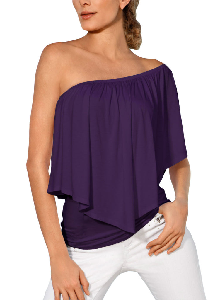 Purple Multi-way Ruffle Women Top