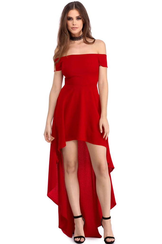 Red High Low Hem Off Shoulder Party Dress