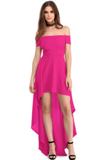 Rosy High Low Hem Off Shoulder Party Dress