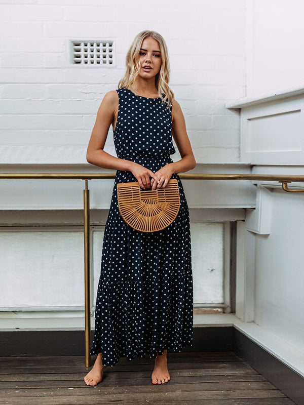 Saturday Night Polka Dot Sleeveless Maxi Dress