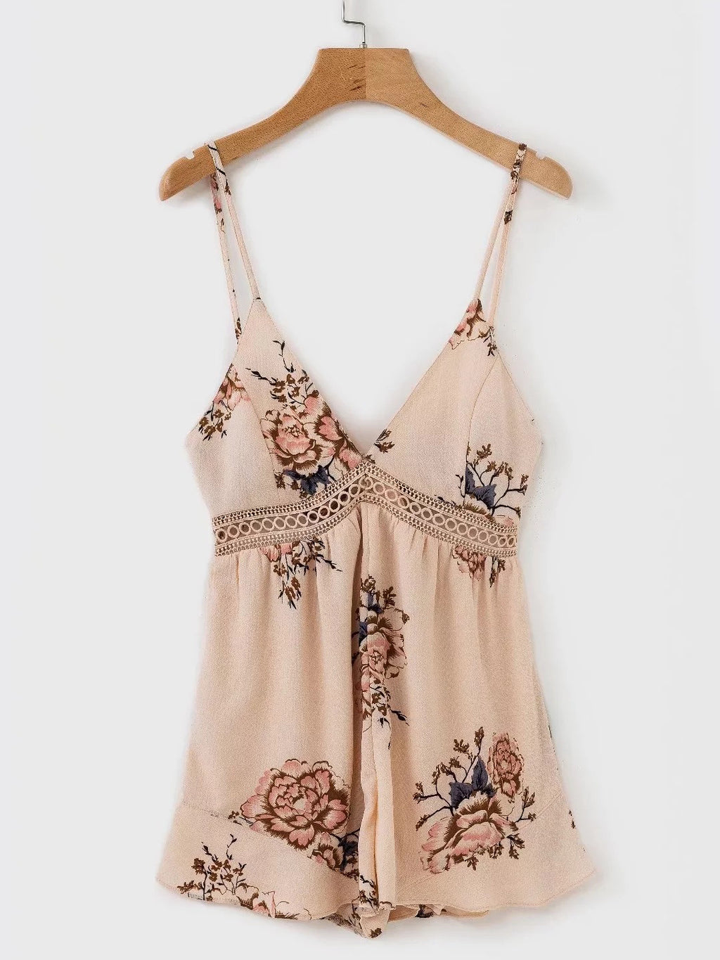 Saturday Sun Floral Print Hollow-Out Romper