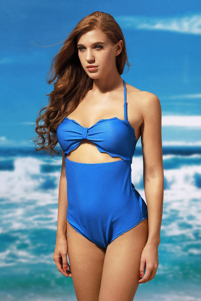 Scalloped Edge Maillot One Piece Swimsuit