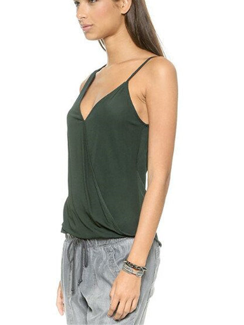 Sebina Green High-Low Chiffon Tank Top